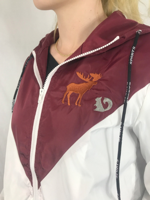 Maroon Hooded Windbreaker Custom Embroidered Design Members only Bomber  Jacket M | not-topic