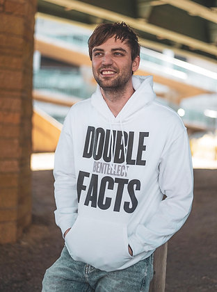 Classic White Double FACTS Bentellect Hooded Sweatshirt
