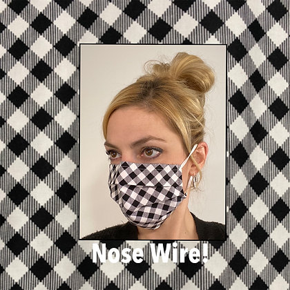 Black and white plaid cotton Face Mask washable reusable with nose wire