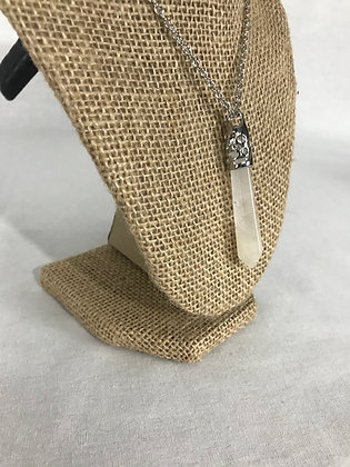 White Large quartz crystal necklace