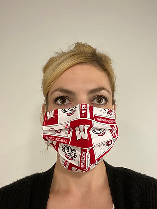 Wisconsin Badgers Football cotton Face Mask washable reusable with nose wire