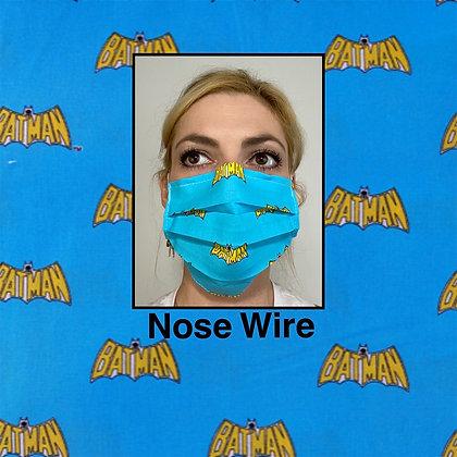 Batman Blue cotton Face Mask washable reusable with nose wire