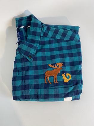Moose and squirrel plaid shirt 2xl