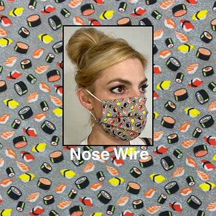 Sushi cotton Face Mask washable reusable with nose wire