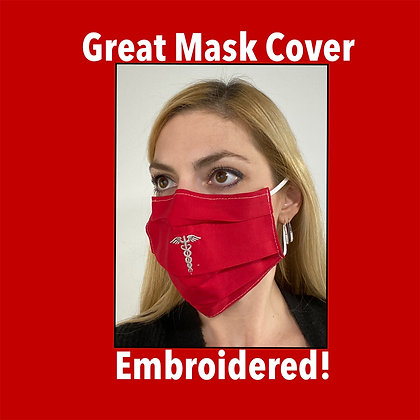 Caduceus Staff Embroidered Face Mask Washable Reusable