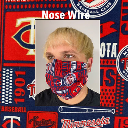 Minnesota Twins Baseball cotton Face Mask washable reusable with nose wire
