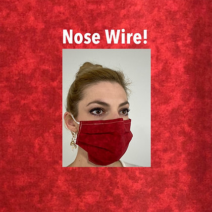 Red tie dye cotton Face Mask washable reusable with nose wire