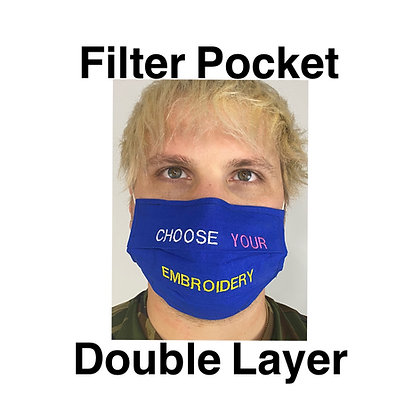 Embroidered Double Layer Filter Pocket Custom Face Mask Washable Reusable