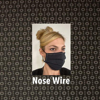 Classy black print cotton Face Mask washable reusable with nose wire