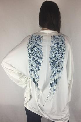 Castiel Angel Wing Cardigan white Blue Wings Shirt Sweater Silk Robe