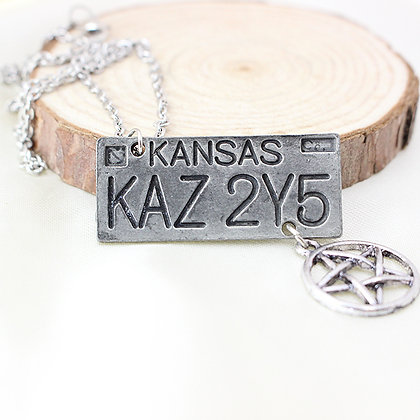 Kansas License Plate Necklace