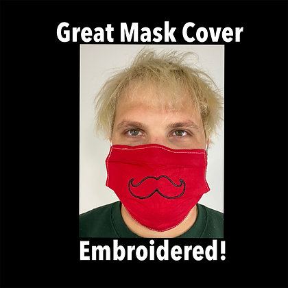 Mustache Embroidered Face Mask Washable Reusable