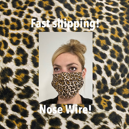 Cheetah Print cotton Face Mask washable reusable with nose wire