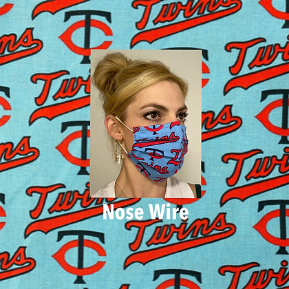 Minnesota twins cotton Face Mask washable reusable with nose wire