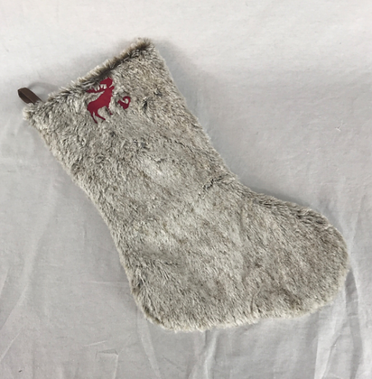 Moose and Squirrel Inspired Fur Plaid Stocking Custom Embroidery Christmas