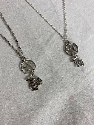 Moose and Squirrel Pentagram Necklace Set