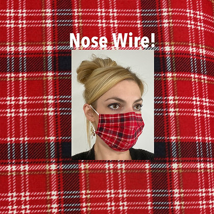 Red and black plaid cotton Face Mask washable reusable with nose wire