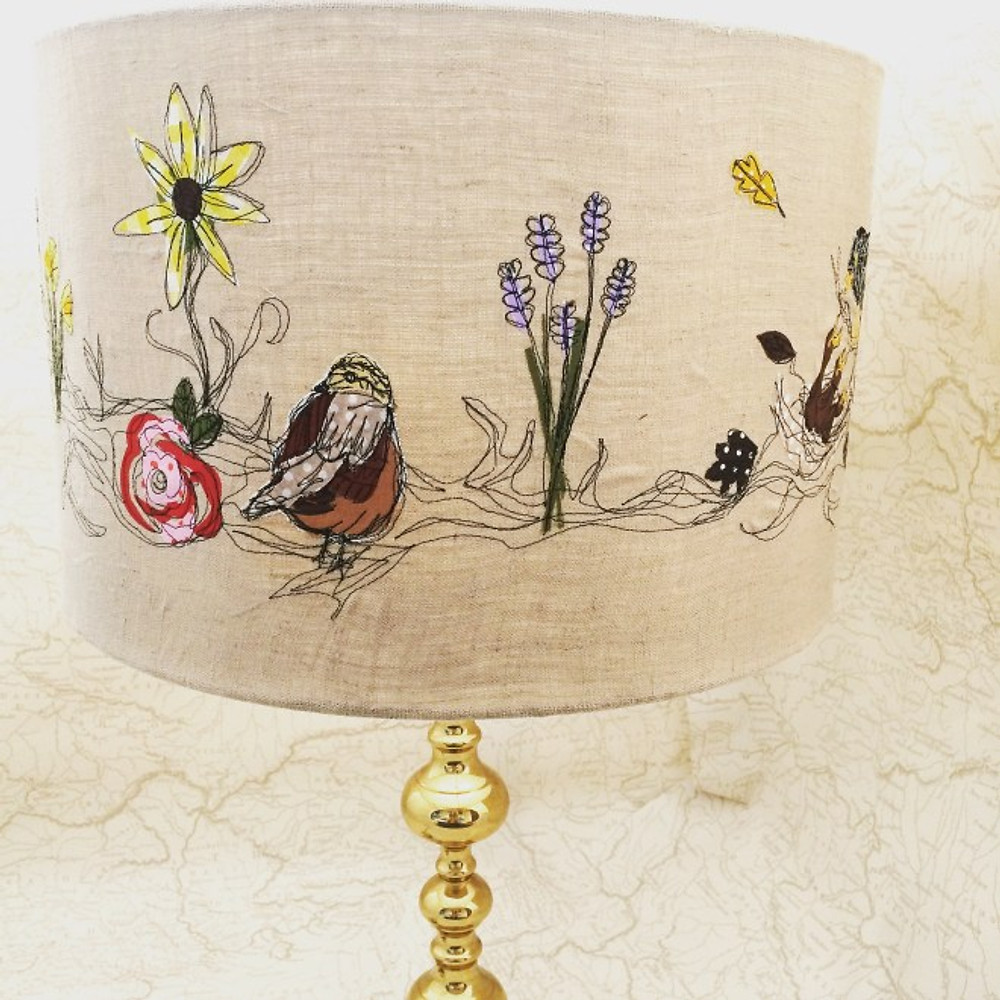 Free motion embroidered lampshade