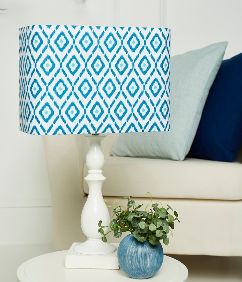 Needcraft DIY lampshade kit, the rounded rectangle kit with blue geometric pattern fabric in living room setting