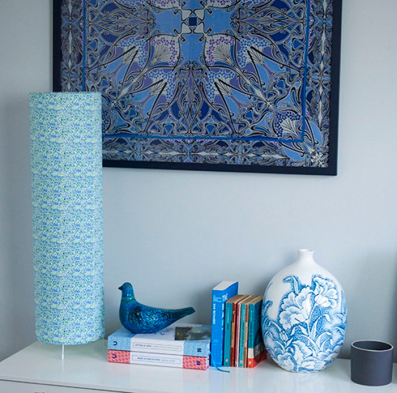 Table lampshade on sideboard