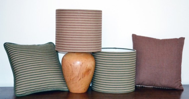cushions and lampshades arranged together