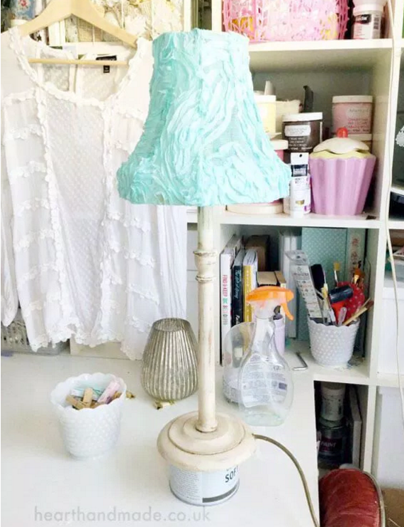 Shabby Chic Lampshade and Lampbase as made in tutorial