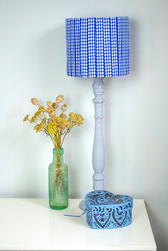 Display with lampshade made with gingham ribbon