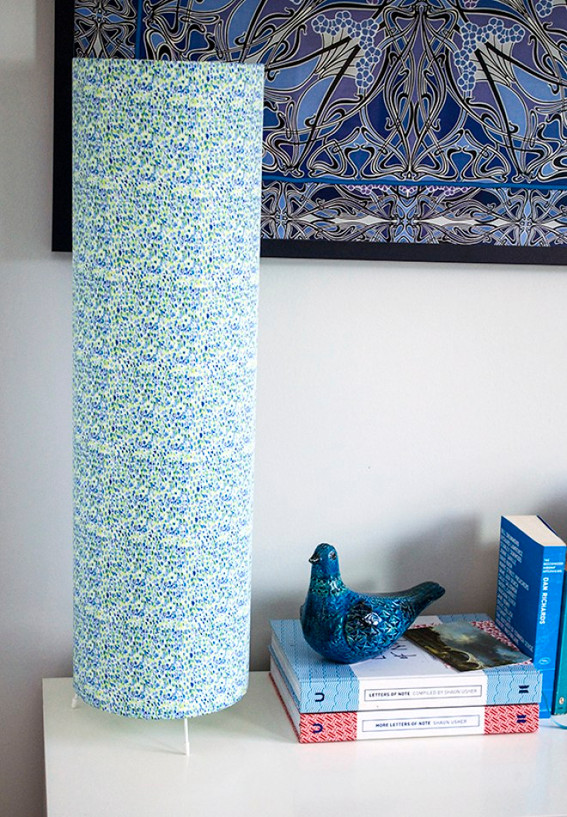 Table lampshade, hand made and covered in blue and white fabric