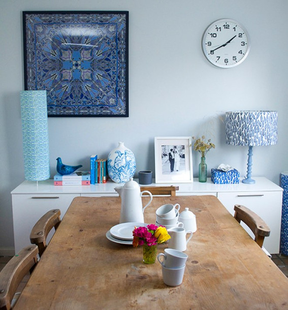 Kitchen scene with lampshades