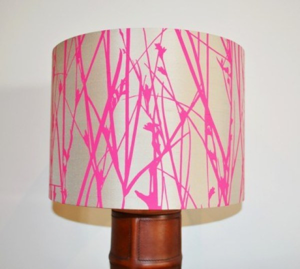 Drum lampshade with floral fabric in bright pink