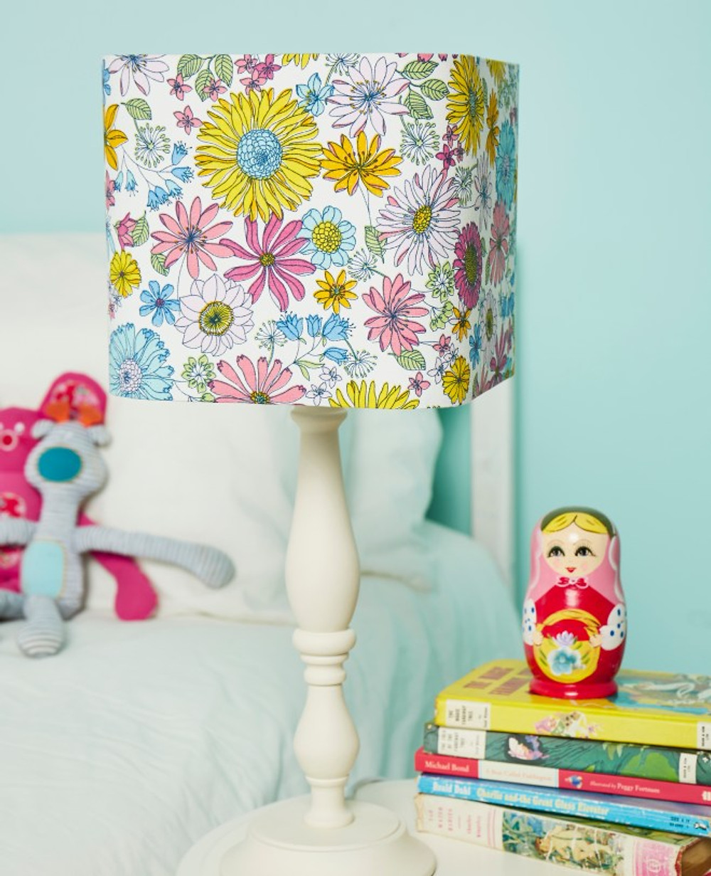 Needcraft DIY lampshade kit, the rounded square lampshade kit with floral fabric in a kid's bedroom setting