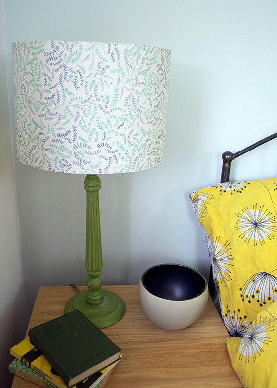 Bedroom table scene with lampshade