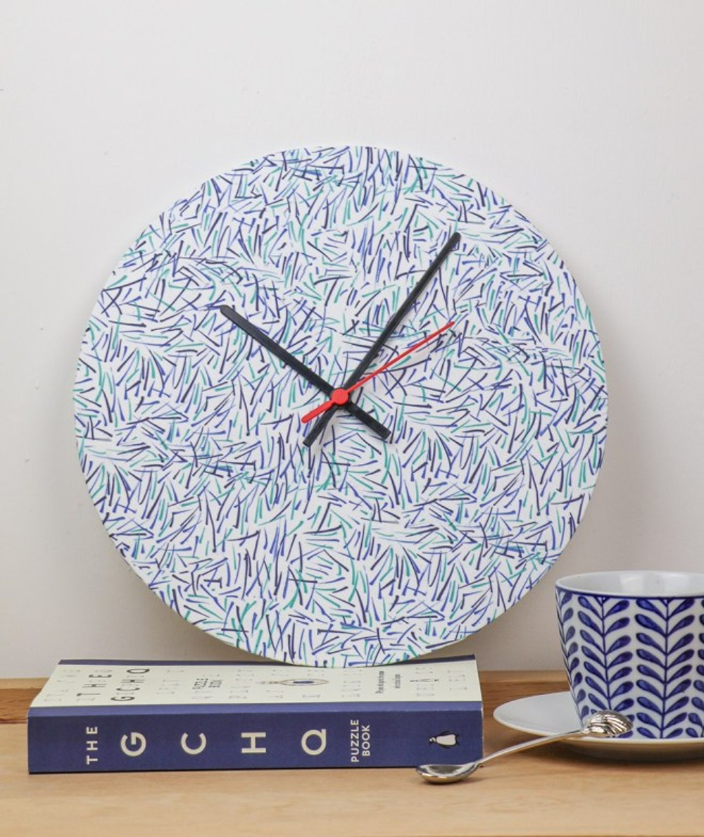 Handmade clock using fabric print design made for Father's day