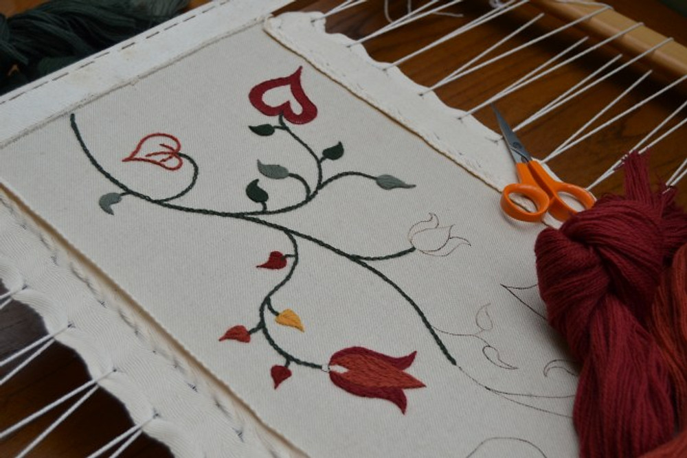 embroidery being made