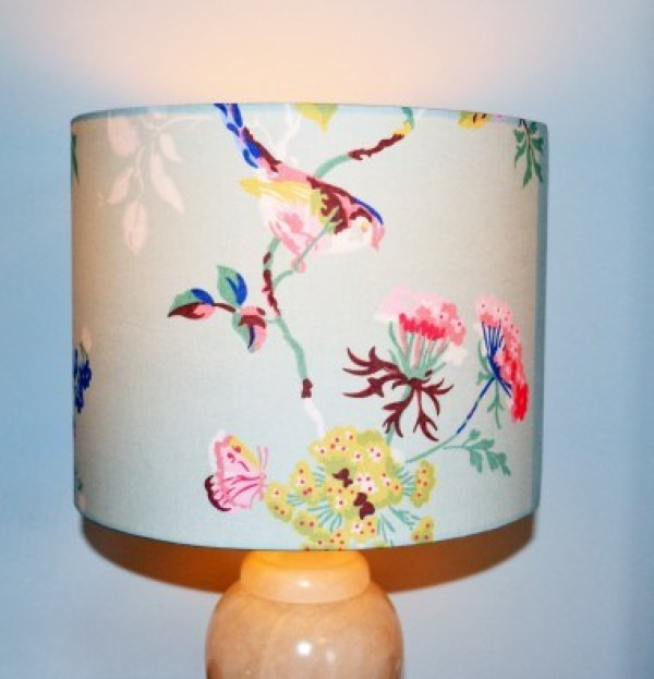 Drum lampshade with bird and flower design