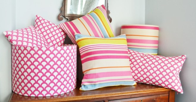 Handmade lampshades and cushions covered in bright fabric