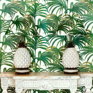 House of hackney wallpaper with two matching lamp stands