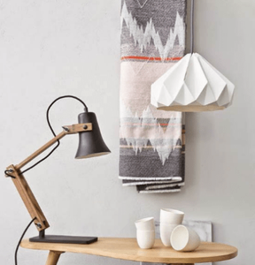 table scene with white origami style lampshade