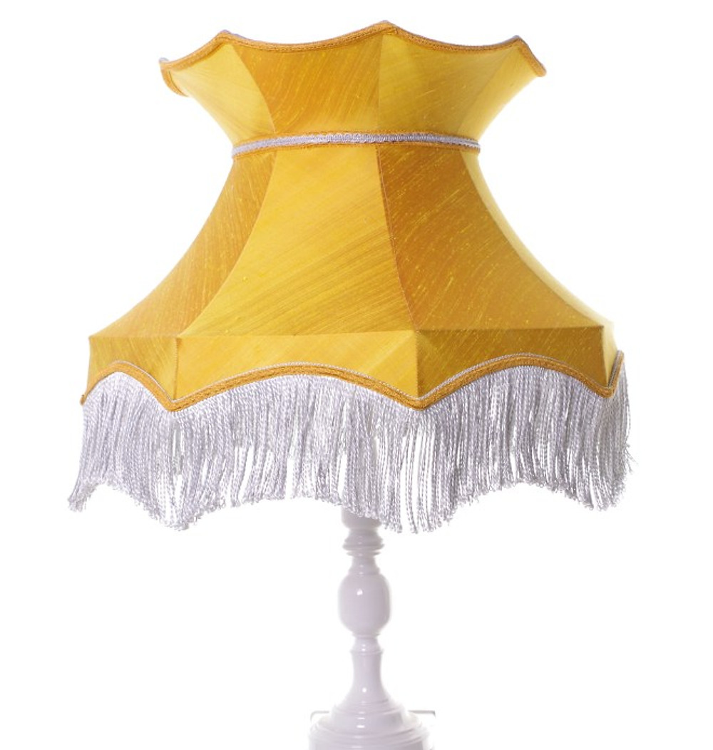 businesswoman Little Peg Lamps. Yellow hand stitched lampshade