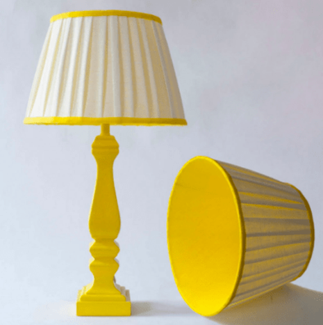 Table lamp made from bright yellow linen and white linen by Melodie Horne