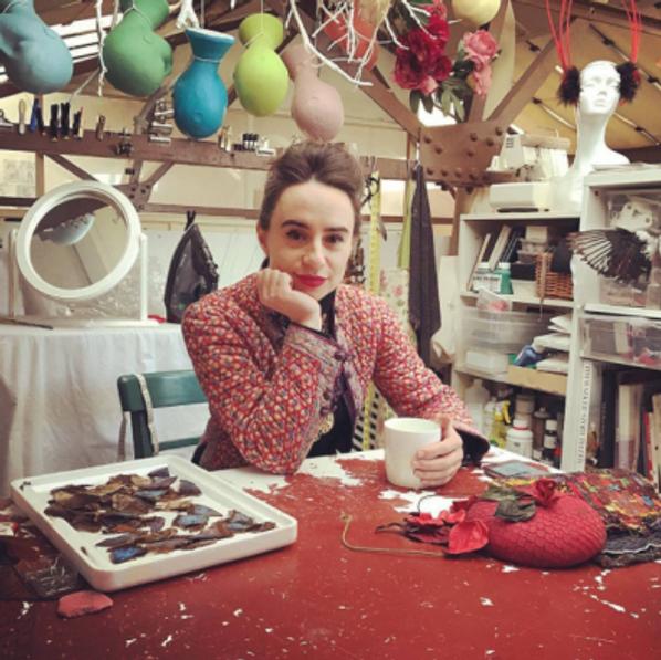 Milliner in her studio
