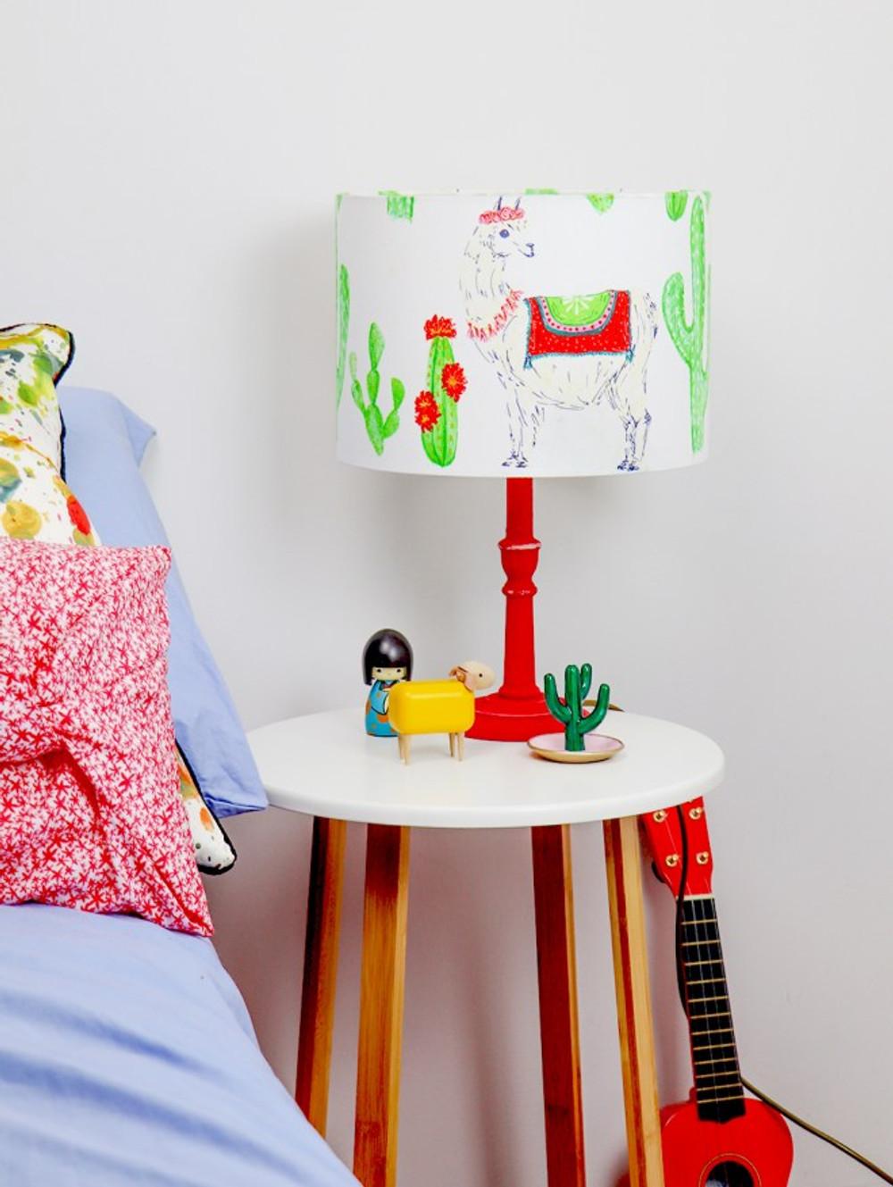 Kids bedroom. Bedside lamp on table
