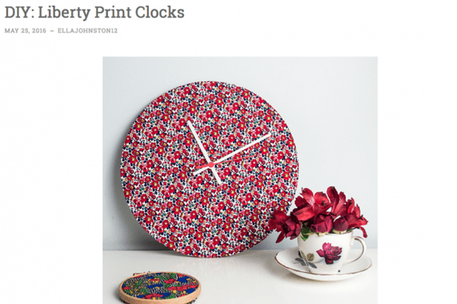 Ella's Place clock kit covered in fabric