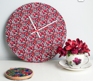 www.ellasplace.co.uk clock kit covered in fabric
