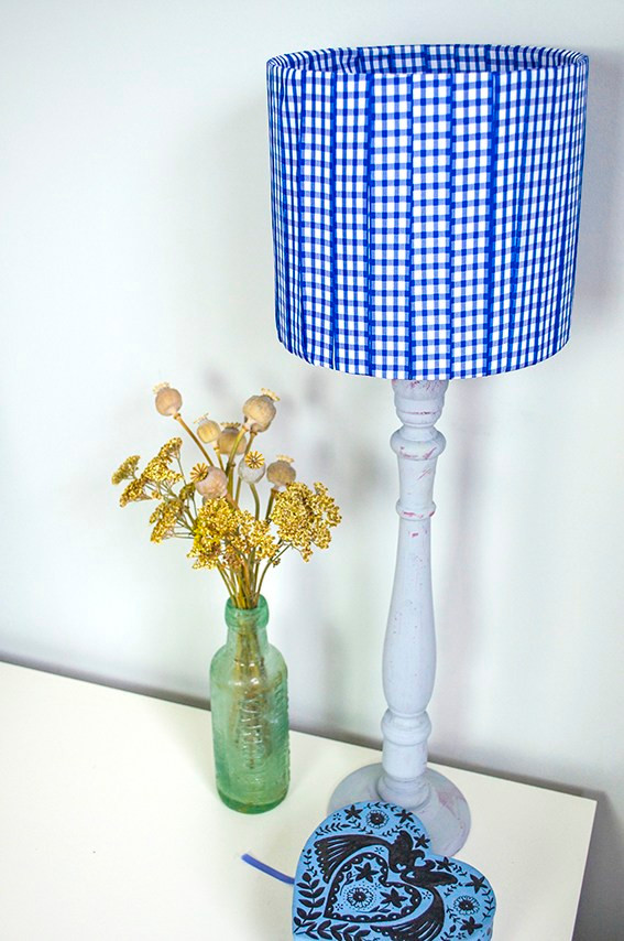 Lampshade made with gingham ribbon