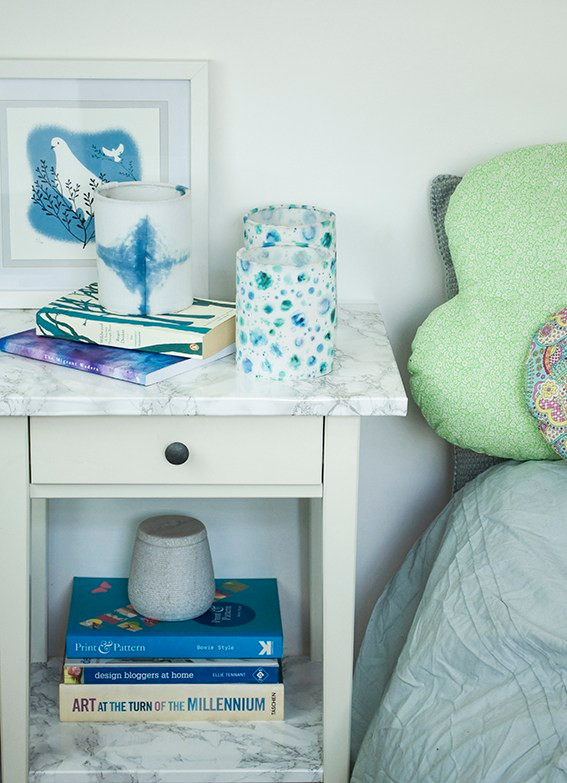 bedroom sidetable scene with Lantern from Dannells