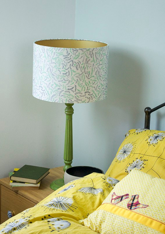 Bedside table scene with lampshade