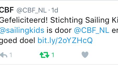 CBF erkenning voor Sailing Kids!