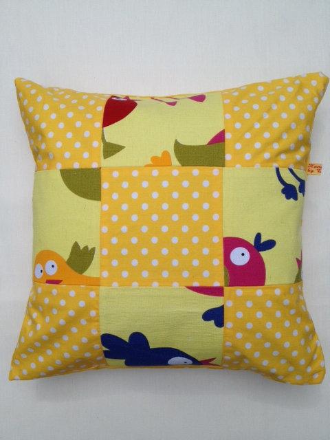 Yellow Polka Dot Bird Cushion