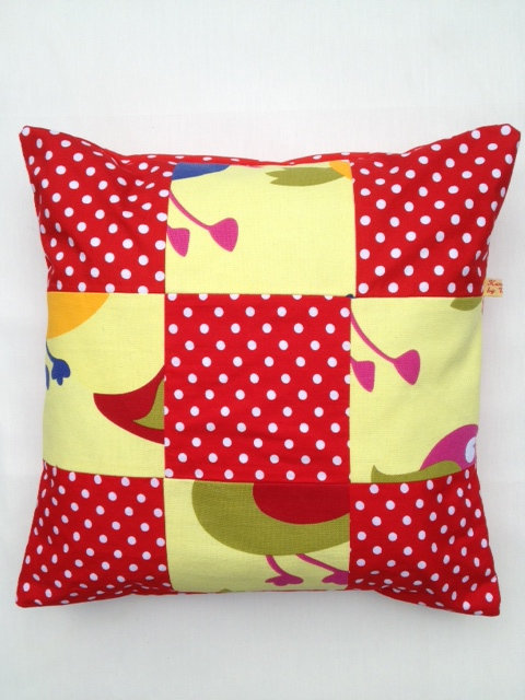 Red Polka Dot Bird Cushion